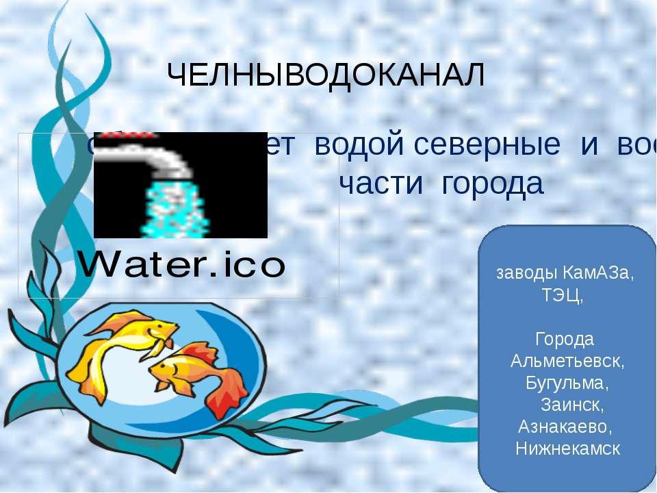 обеспечивает водой северные и восточные части города ЧЕЛНЫВОДОКАНАЛ заводы Ка...