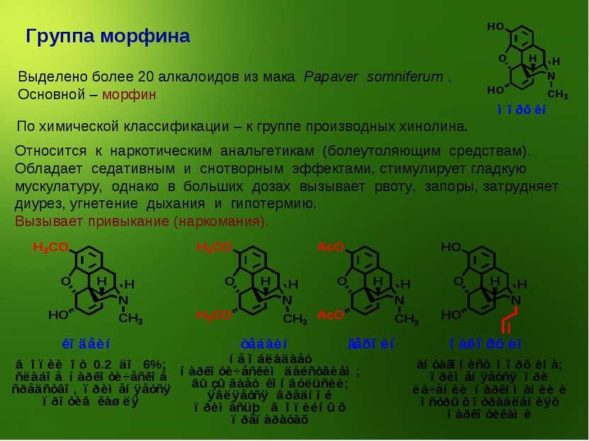 Группа морфина Выделено более 20 алкалоидов из мака Papaver somniferum . Осно...
