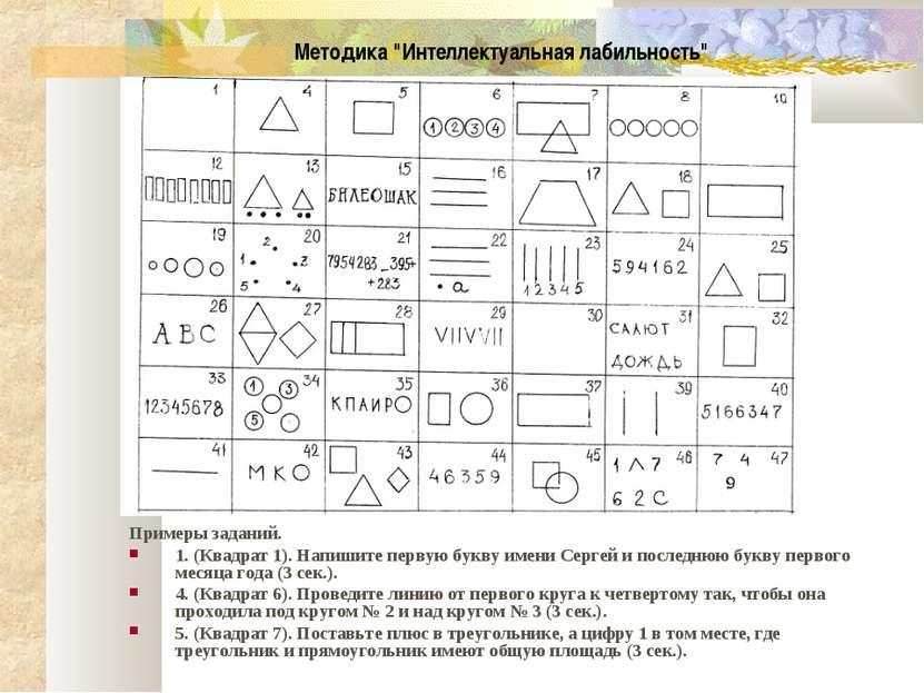Примеры заданий. 1. (Квадрат 1). Напишите первую букву имени Сергей и последн...