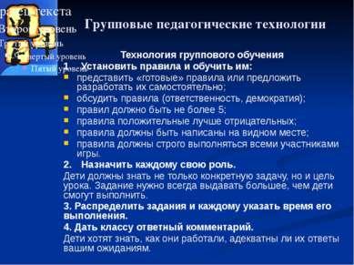 Групповые педагогические технологии Технология группового обучения 1. Установ...