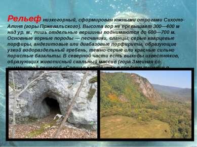 Рельеф низкогорный, сформирован южными отрогами Сихотэ-Алиня (горы Пржевальск...