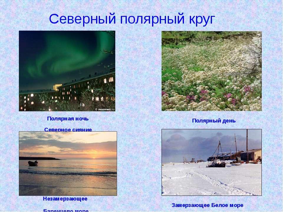 Полярная ночь Северное сияние Незамерзающее Баренцево море Полярный день Заме...