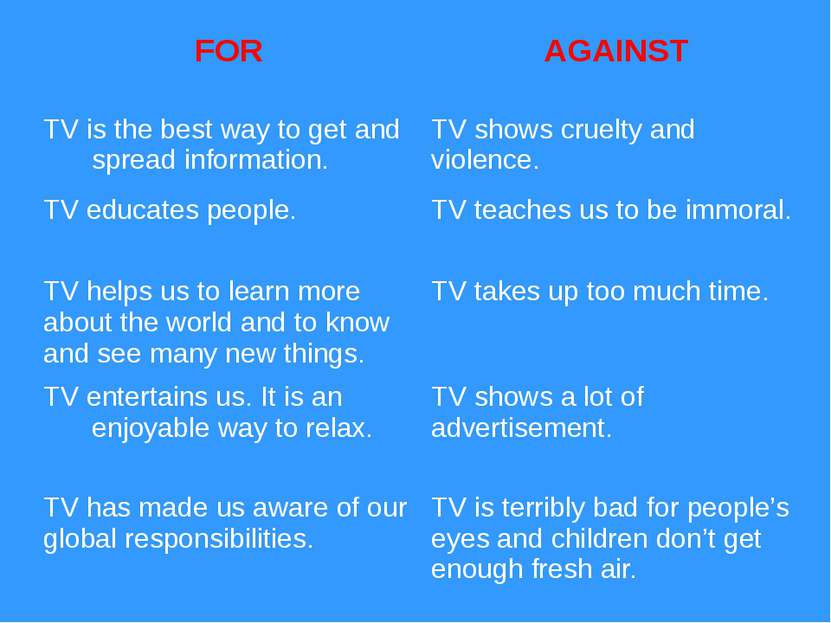 FOR AGAINST TV is the best way to get and spread information. TV shows cruelt...