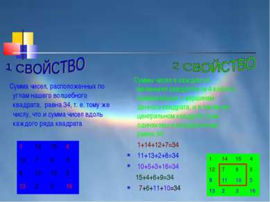 Сумма чисел, расположенных по углам нашего волшебного квадрата, равна 34, т. ...