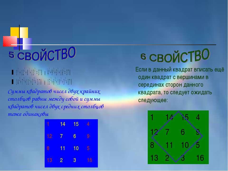 Суммы квадратов чисел двух крайних столбцов равны между собой и суммы квадрат...
