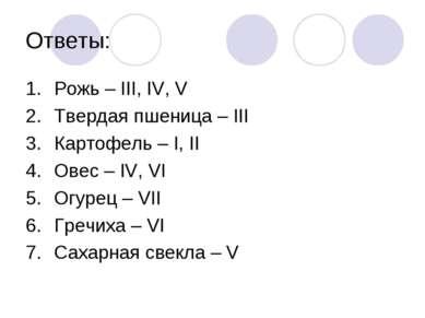 Ответы: Рожь – III, IV, V Твердая пшеница – III Картофель – I, II Овес – IV, ...