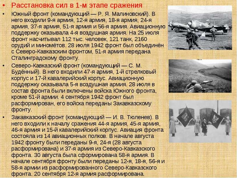Расстановка сил в 1-м этапе сражения Южный фронт (командующий — Р. Я. Малинов...