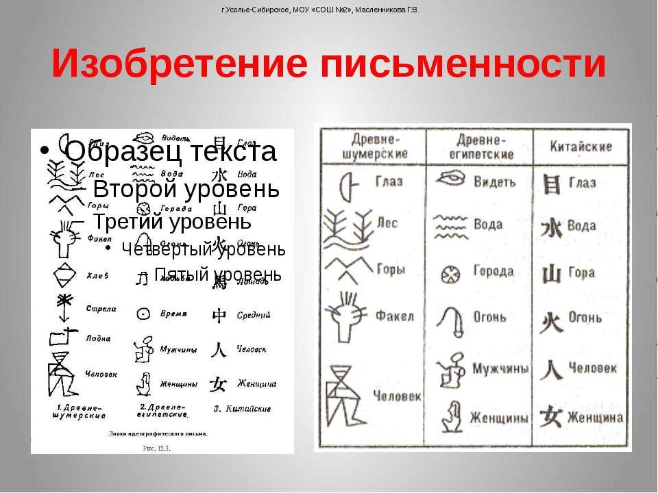 Изобретение письменности г.Усолье-Сибирское, МОУ «СОШ №2», Масленникова Г.В.