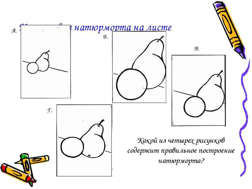 Компоновка натюрморта на листе А. Б. В. Г. Какой из четырех рисунков содержит...