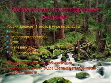 Обеспеченность России природными ресурсами. Россия занимает 1 место в мире по...