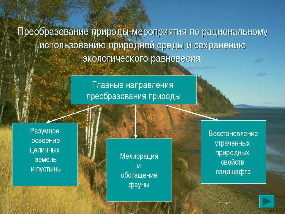 Преобразование природы-мероприятия по рациональному использованию природной с...
