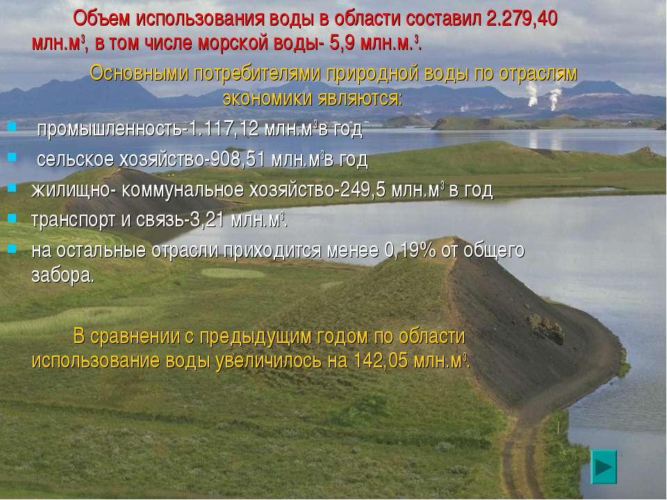 Объем использования воды в области составил 2.279,40 млн.м3, в том числе морс...