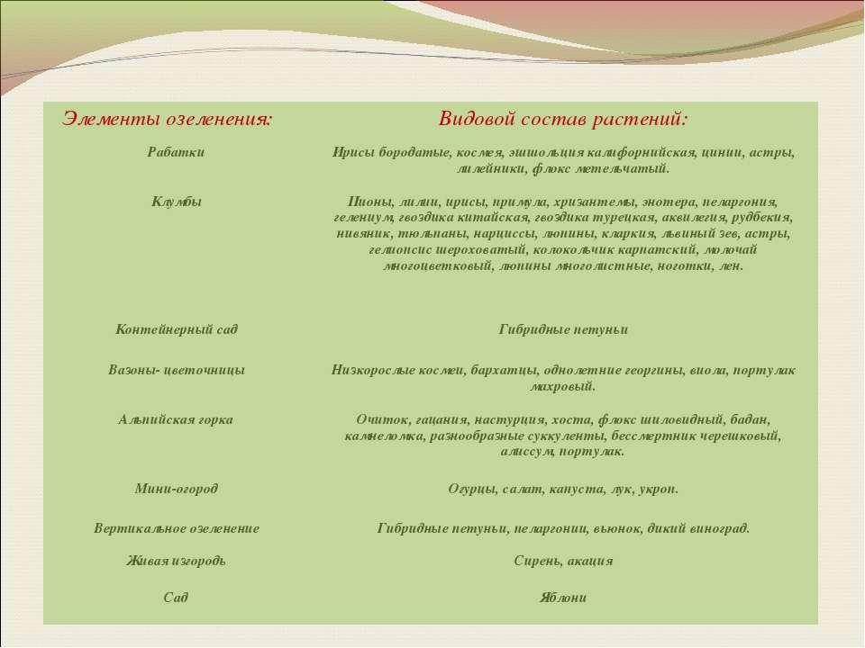Элементы озеленения: Видовой состав растений: Рабатки Ирисы бородатые, космея...