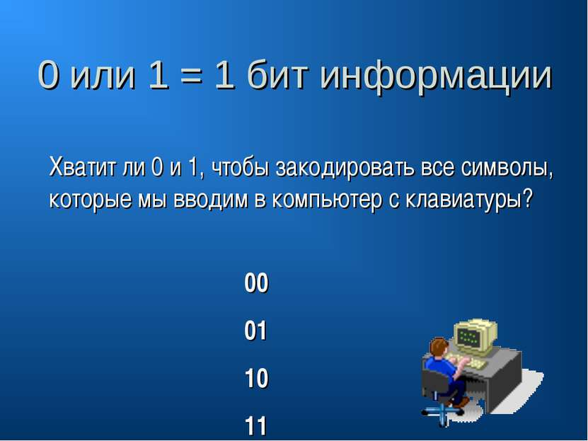 0 или 1 = 1 бит информации Хватит ли 0 и 1, чтобы закодировать все символы, к...