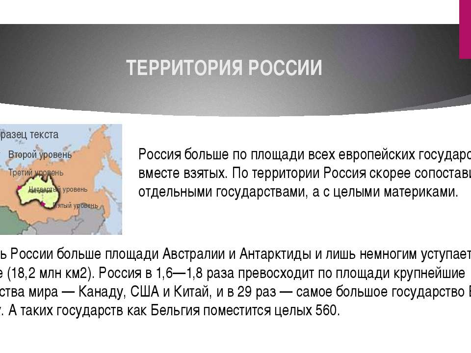 ТЕРРИТОРИЯ РОССИИ Россия больше по площади всех европейских государств, вмест...