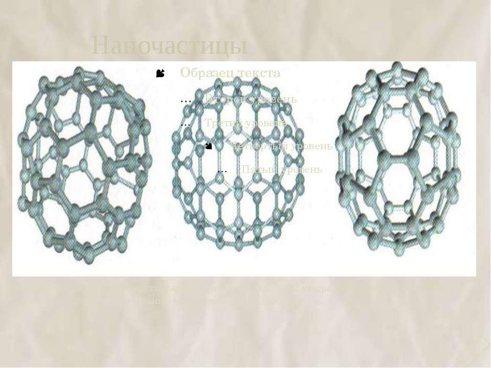 Наночастицы Атомы графита могут образовывать шарики примерно из 60, 70.72 угл...