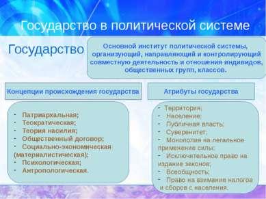 Государство в политической системе Государство Основной институт политической...