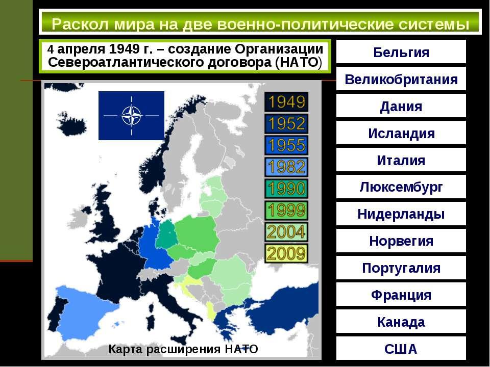 Раскол мира на две военно-политические системы 4 апреля 1949 г. – создание Ор...