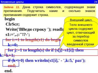 Вложенные циклы 24 begin ClrScr; Write('ВВеди строку '); readln(s); s1:=',.;:...