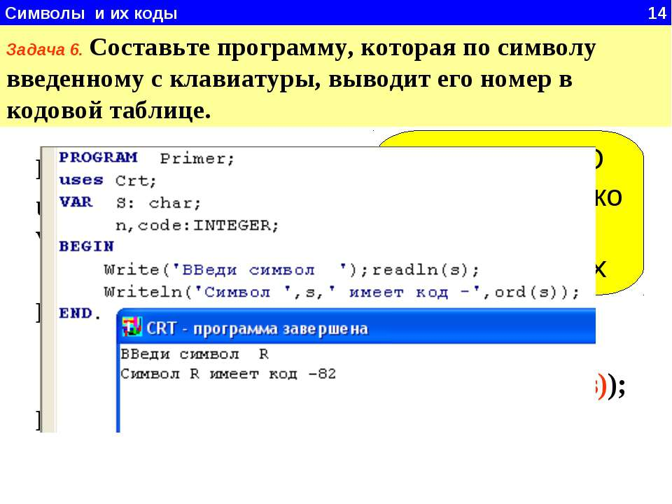 Символы и их коды 14 Задача 6. Составьте программу, которая по символу введен...