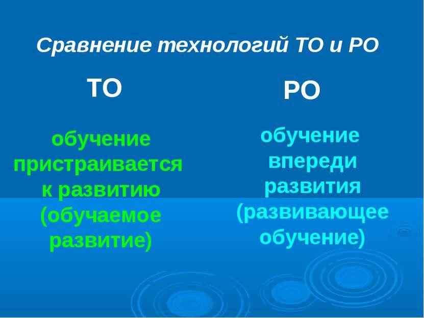 Сравнение технологий ТО и РО ТО РО обучение пристраивается к развитию (обучае...