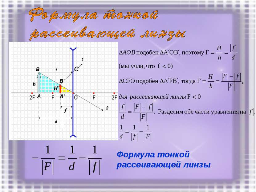 С Формула тонкой рассеивающей линзы