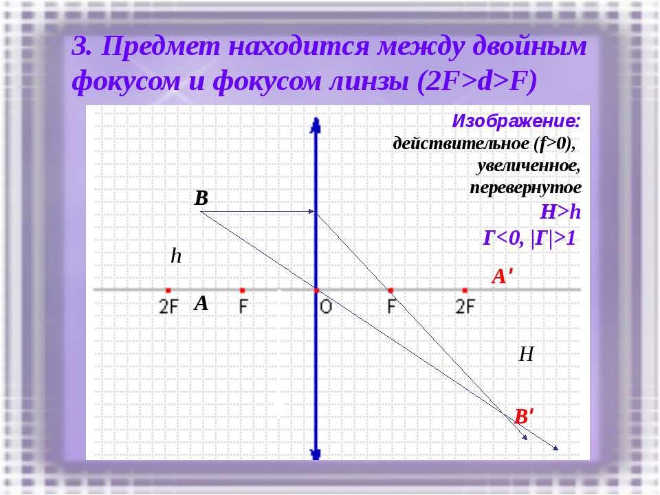 3. Предмет находится между двойным фокусом и фокусом линзы (2F>d>F) h A B A' ...