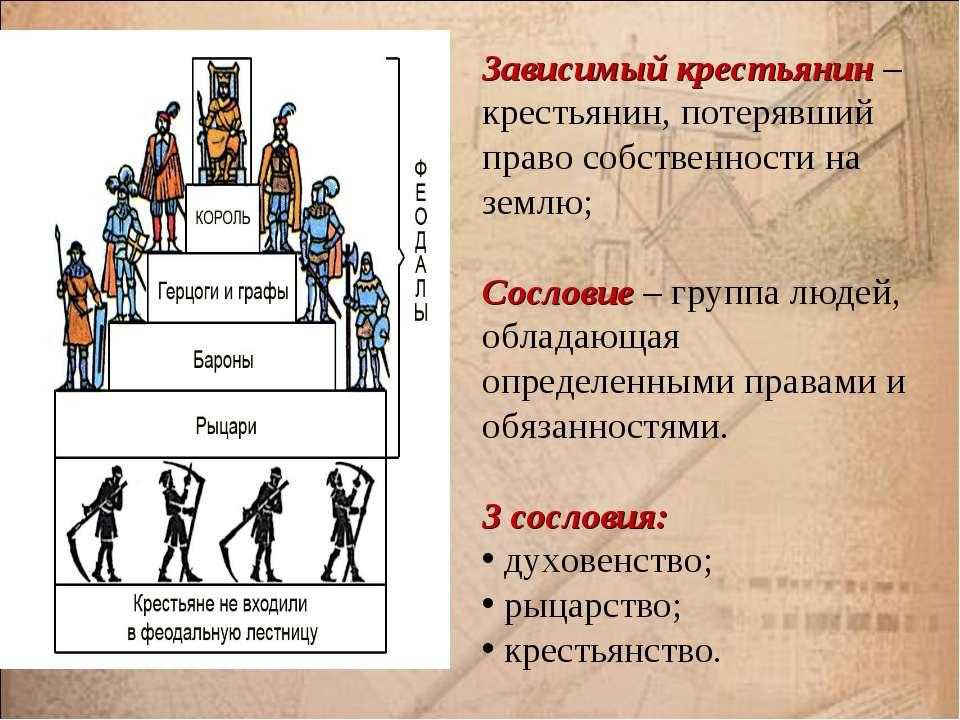 Зависимый крестьянин – крестьянин, потерявший право собственности на землю; С...