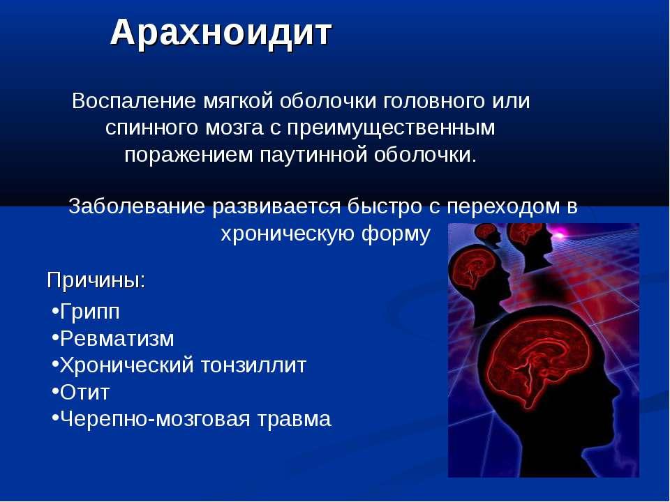 Арахноидит Воспаление мягкой оболочки головного или спинного мозга с преимуще...