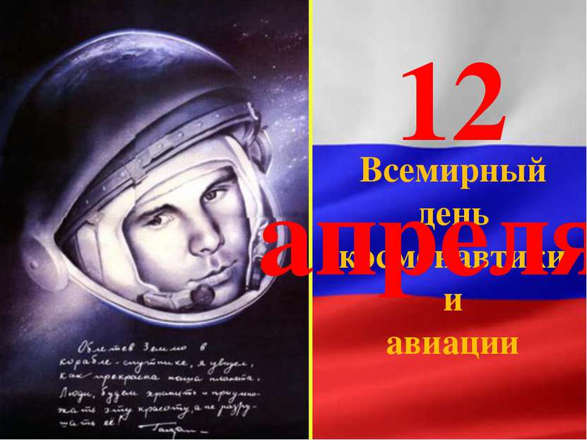 Всемирный день космонавтики и авиации 12 апреля-