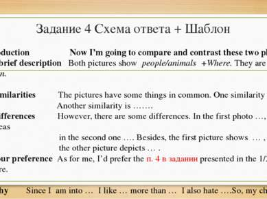 Задание 4 Схема ответа + Шаблон Introduction Now I'm going to compare and con...