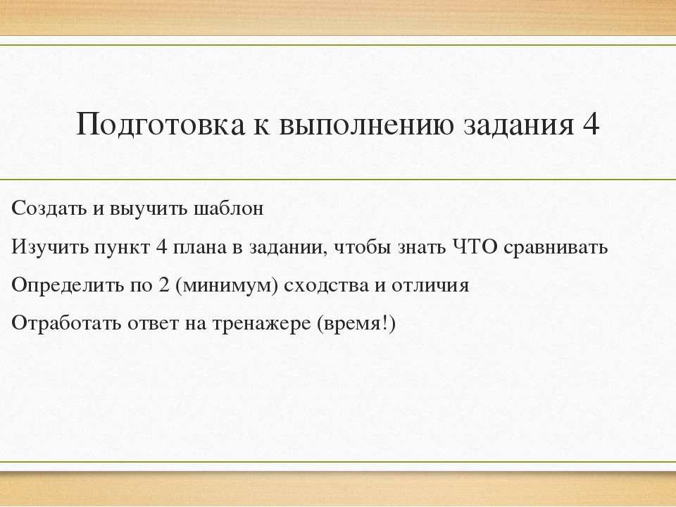Подготовка к выполнению задания 4 Создать и выучить шаблон Изучить пункт 4 пл...