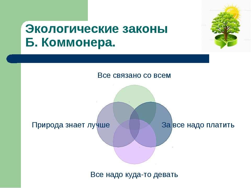 Экологические законы Б. Коммонера.