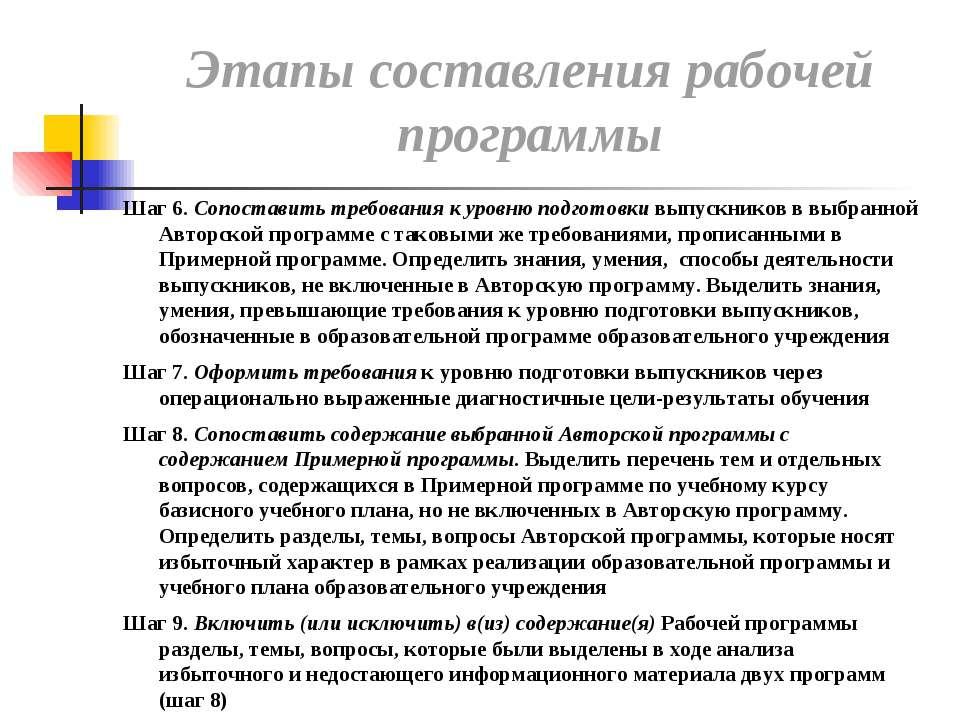 Шаг 6. Сопоставить требования к уровню подготовки выпускников в выбранной Авт...