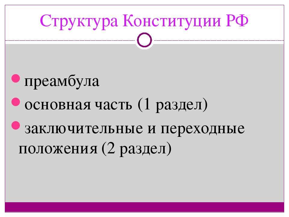 Структура Конституции РФ преамбула основная часть (1 раздел) заключительные и...