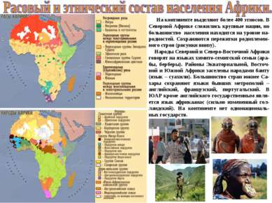 На континенте выделяют более 400 этносов. В Северной Африке сложились крупные...