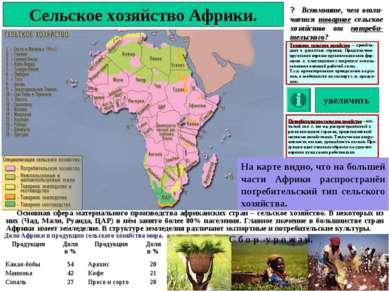 Сельское хозяйство Африки. ? Вспомните, чем отли-чается товарное сельское хоз...