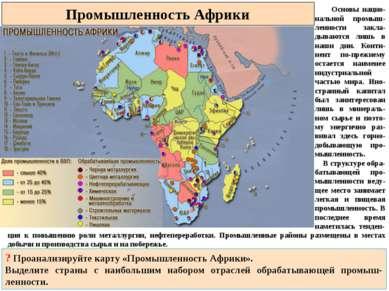 Промышленность Африки Основы нацио-нальной промыш-ленности закла-дываются лиш...