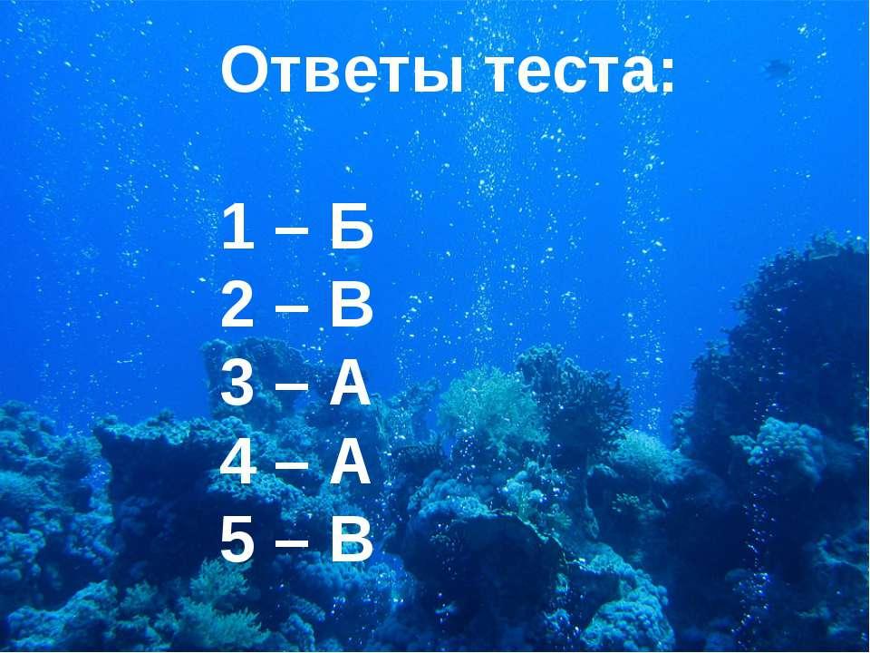 Ответы теста: 1 – Б 2 – В 3 – А 4 – А 5 – В