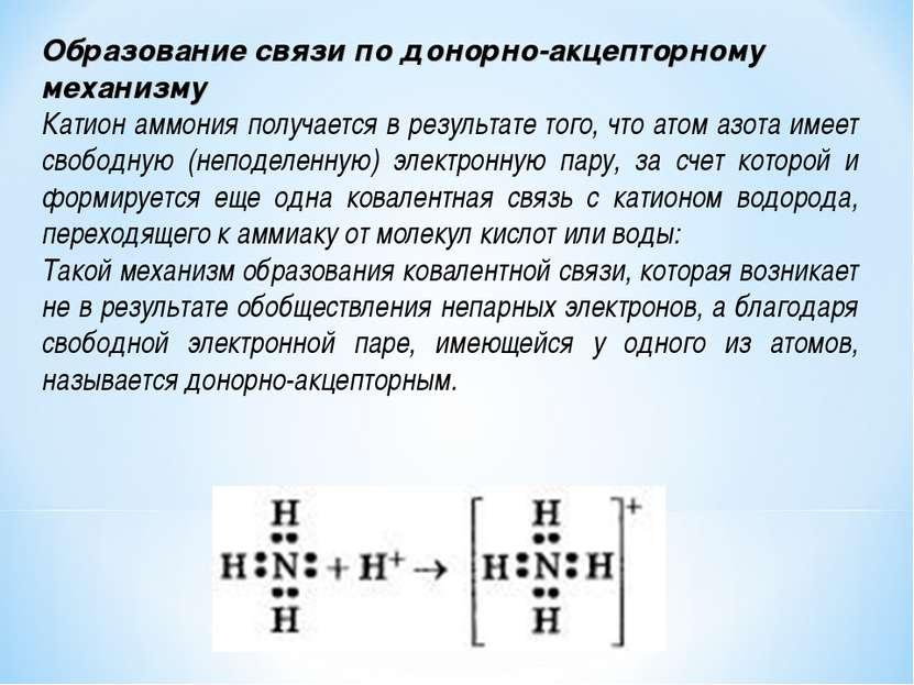 Образование связи по донорно-акцепторному механизму Катион аммония получается...