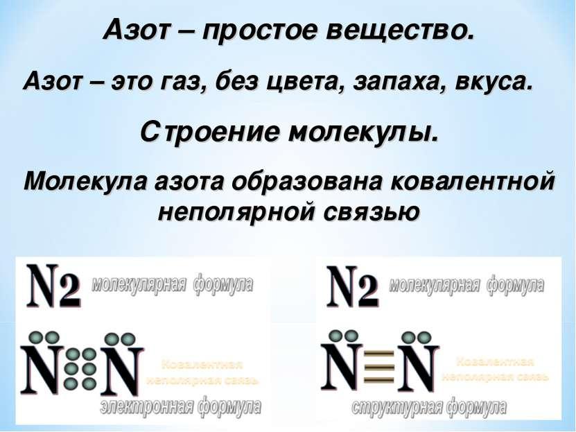 Азот – простое вещество. Азот – это газ, без цвета, запаха, вкуса. Строение м...