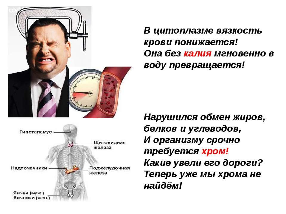 В цитоплазме вязкость крови понижается! Она без калия мгновенно в воду прев...
