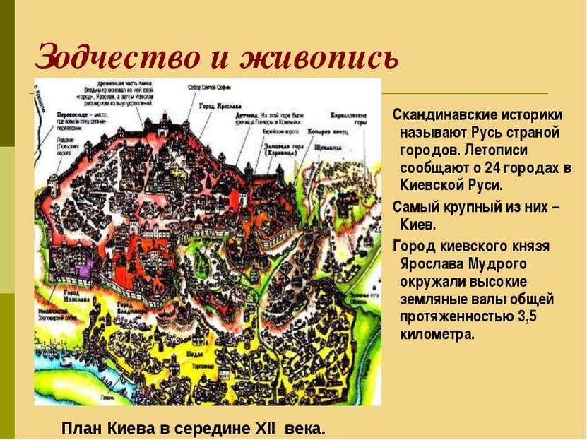 Зодчество и живопись Скандинавские историки называют Русь страной городов. Ле...