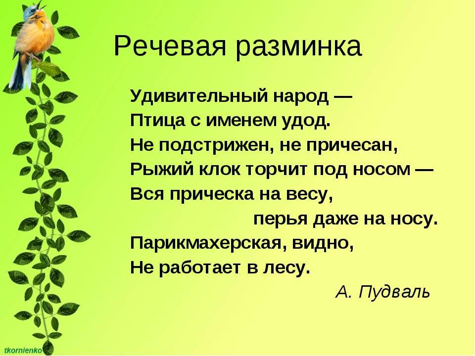 Речевая разминка Удивительный народ — Птица с именем удод. Не подстрижен, не ...