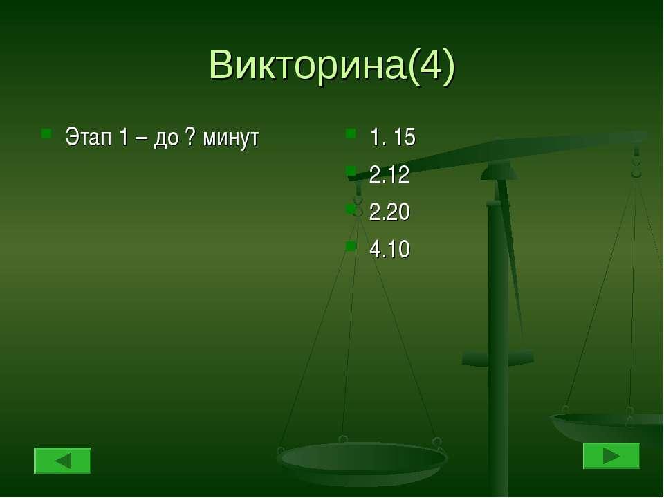 Викторина(4) Этап 1 – до ? минут 1. 15 2.12 2.20 4.10