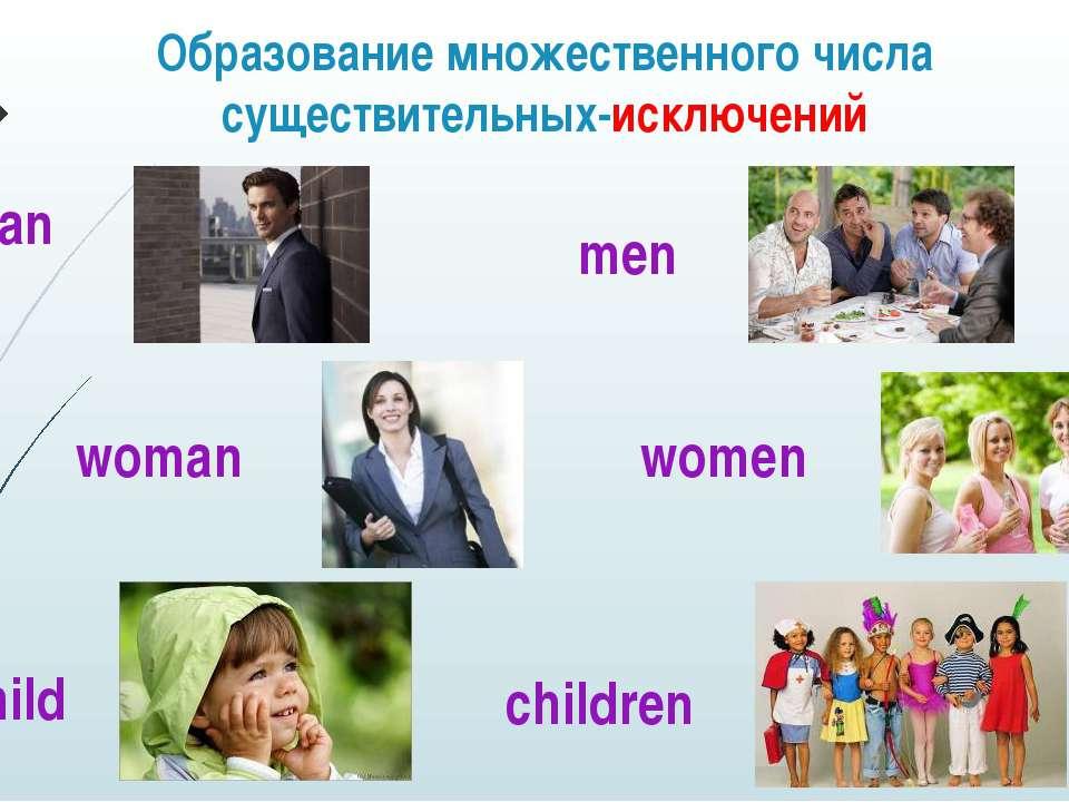 Образование множественного числа существительных-исключений man men woman wom...