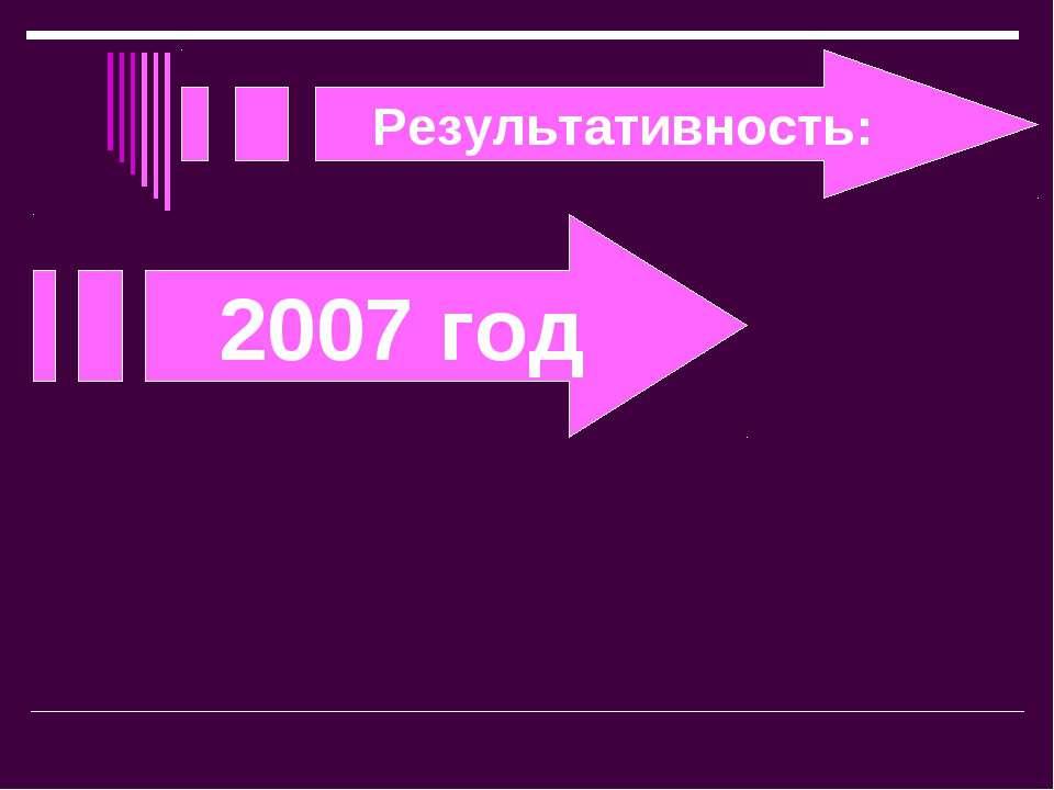 Результативность: 2007 год