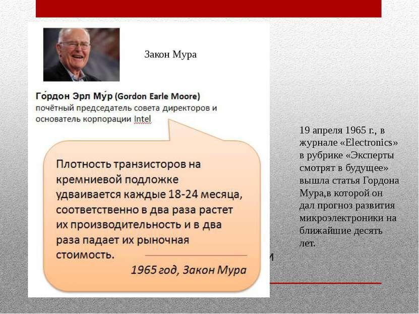 Эволюция вычислительной техники Закон Мура 19 апреля 1965 г., в журнале «Elec...