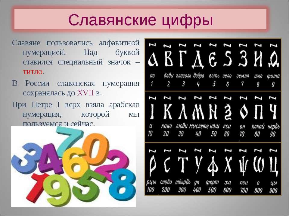 Славяне пользовались алфавитной нумерацией. Над буквой ставился специальный з...