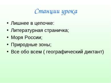 Станции урока Лишнее в цепочке: Литературная страничка; Моря России; Природны...